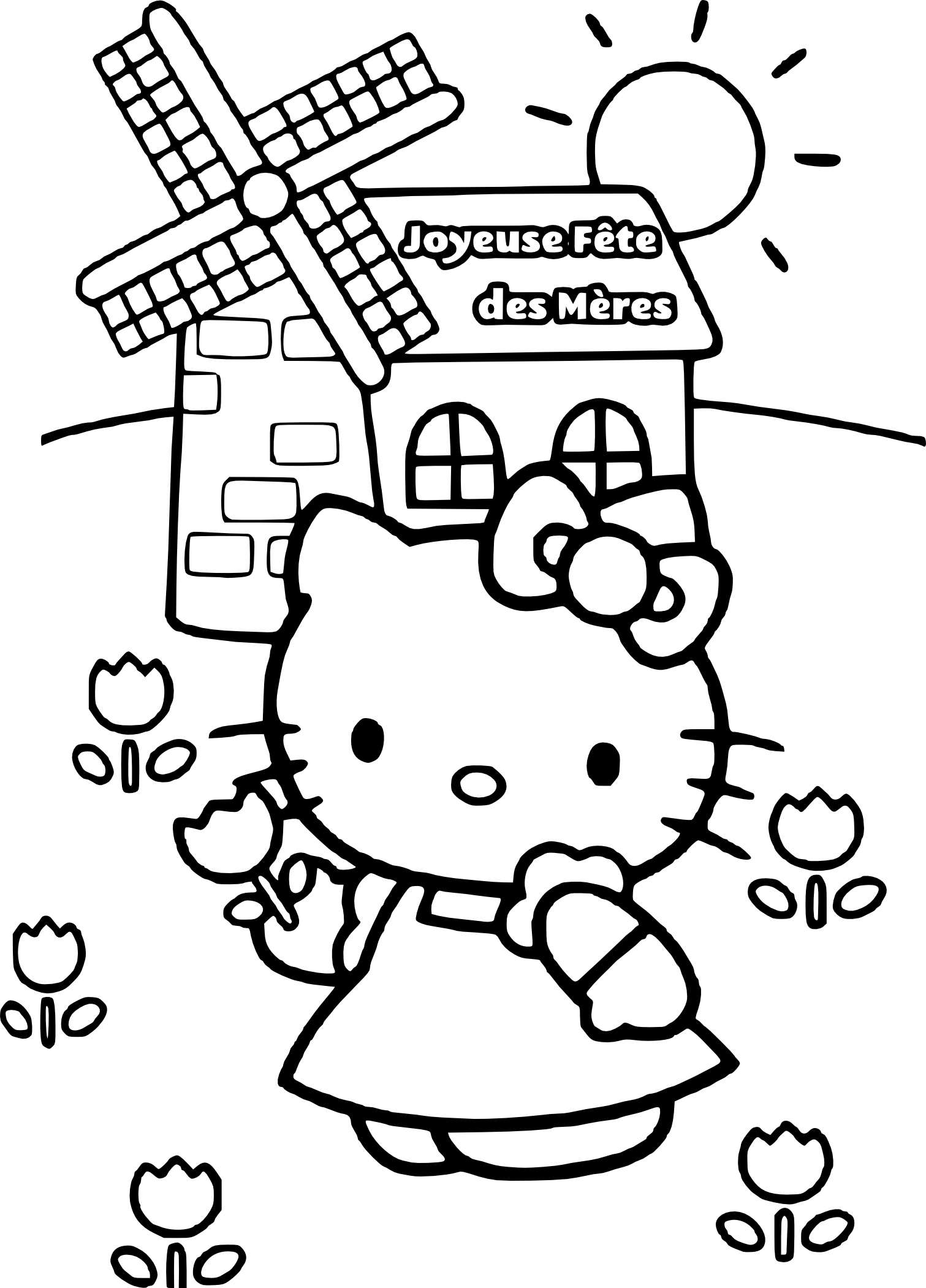 Coloriage Hello Kitty fete des meres