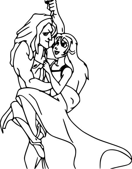 Coloriage Jane et Tarzan