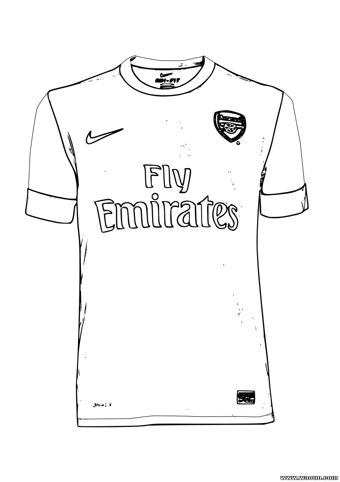 Coloriage maillot Arsenal
