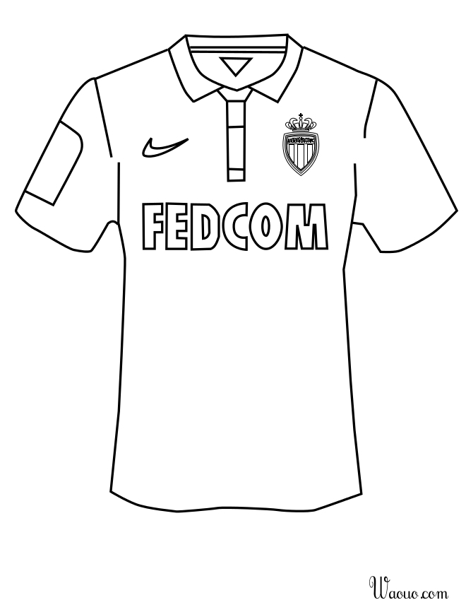 Coloriage maillot AS Monaco