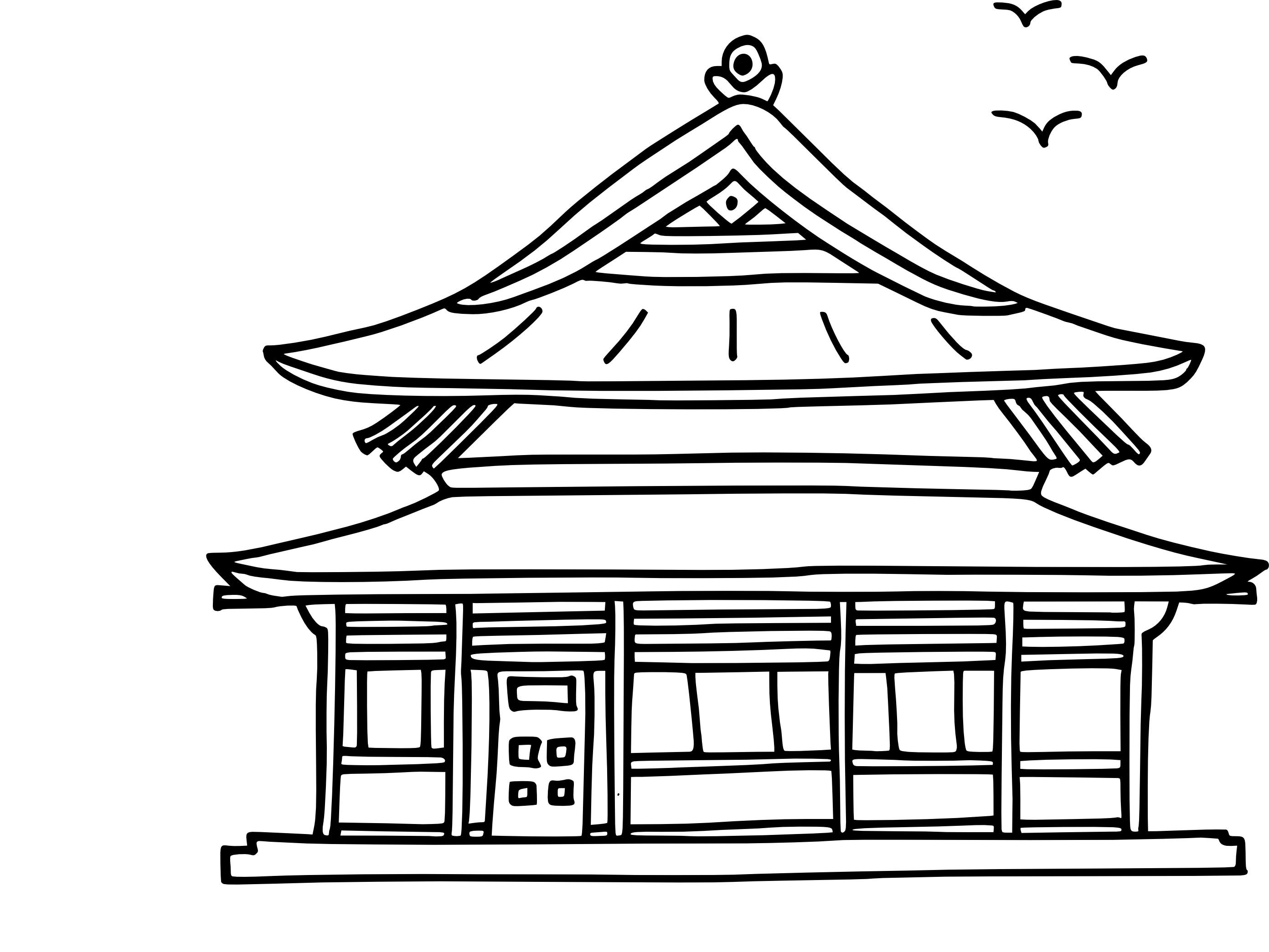 Beautiful Coloriage Maison Chinoise à Imprimer