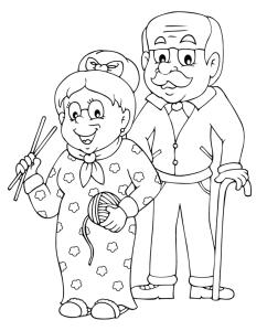 Coloriage mamie et papi