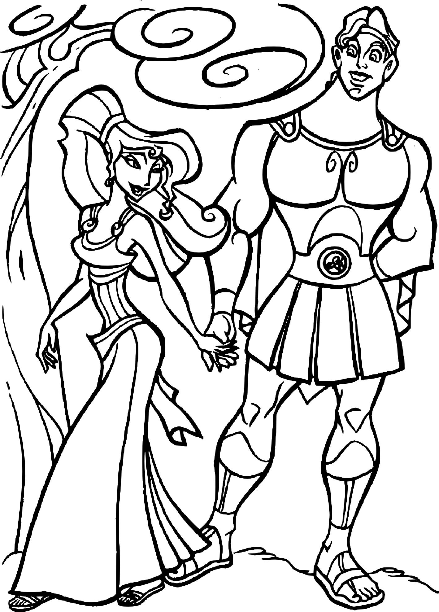 Coloriage Megara et Hercule