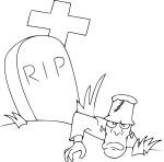 Coloriage mort dans une tombe