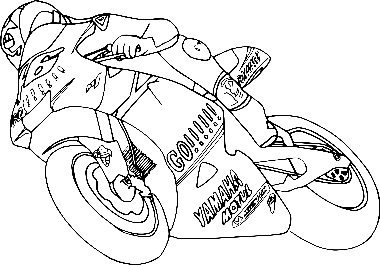 coloriage moto de course