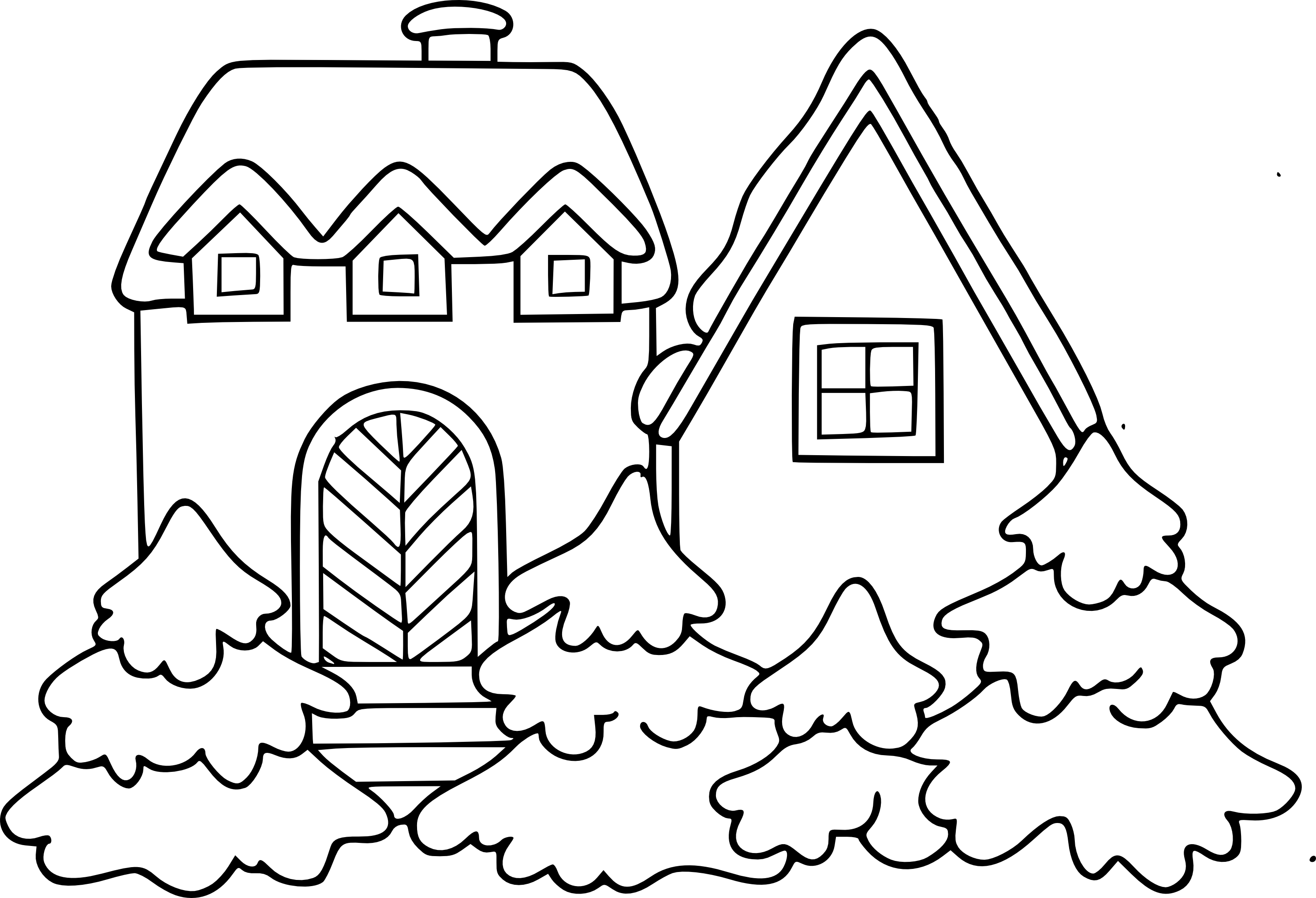 christmas village houses coloring pages - photo#42