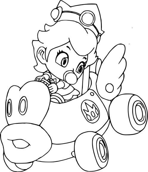 Coloriage Peach Mario Kart