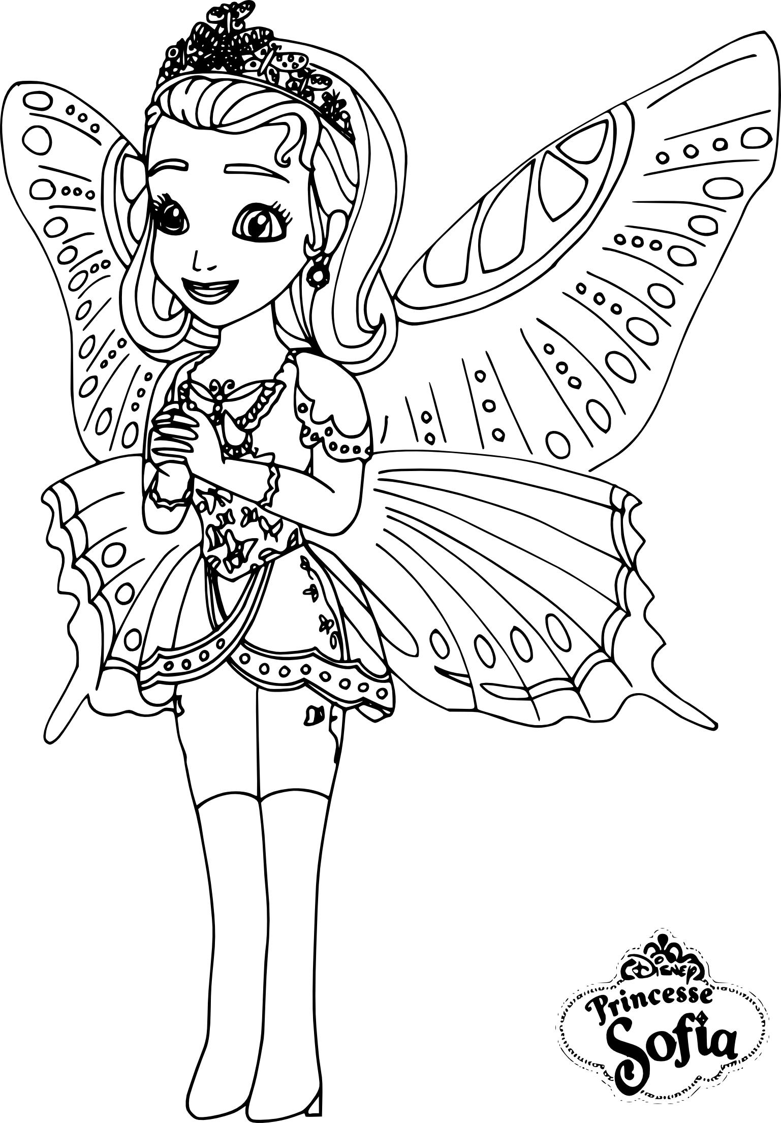 Coloriage princesse Sofia papillon