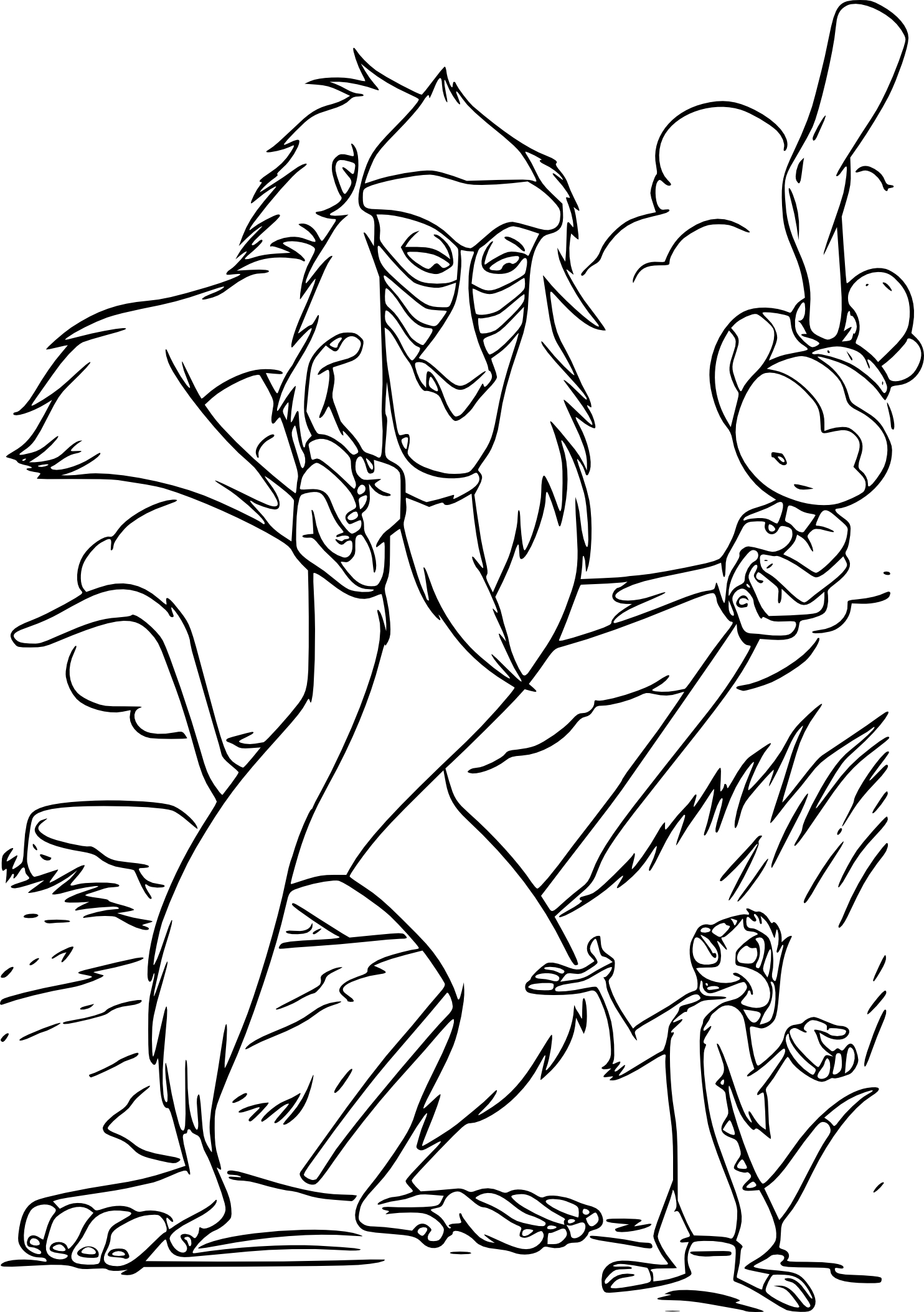 Coloriage Rafiki Roi Lion