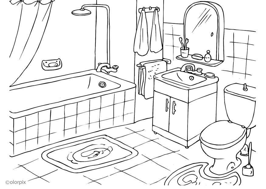 Coloriage salle de bain