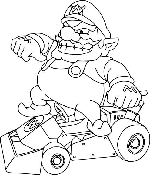 Coloriage Wario Mario Kart