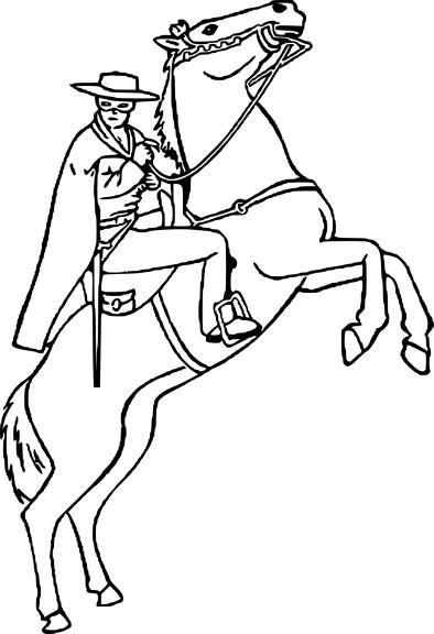 Coloriage zorro sur un cheval