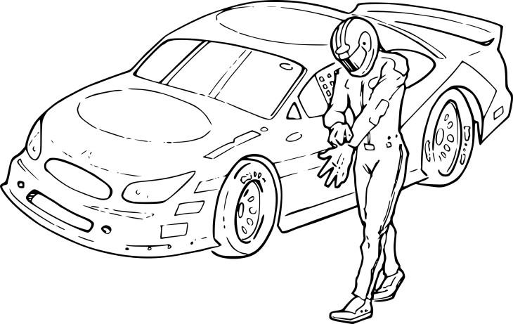 Coloriage voiture de rallye et dessin à imprimer