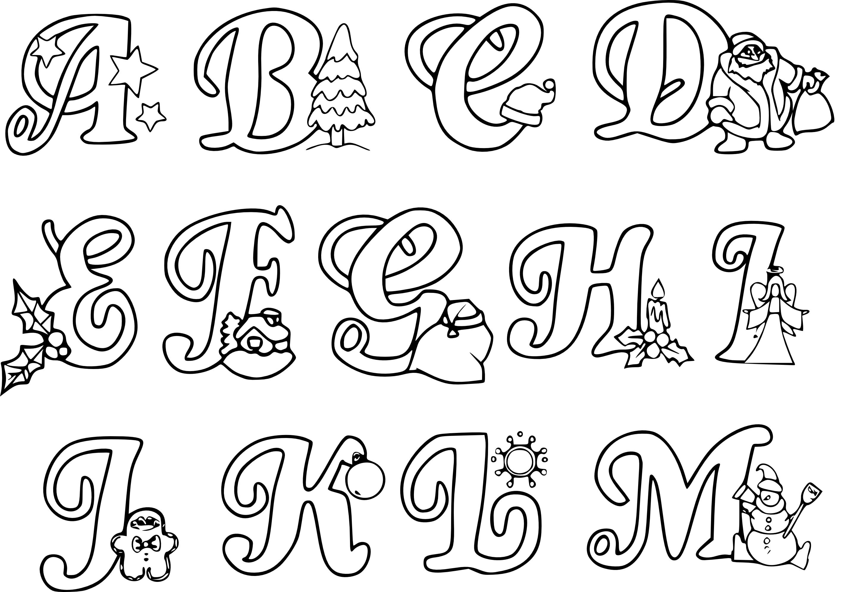Coloriage abecedaire noel