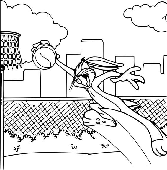 Coloriage Bugs Bunny Basketball