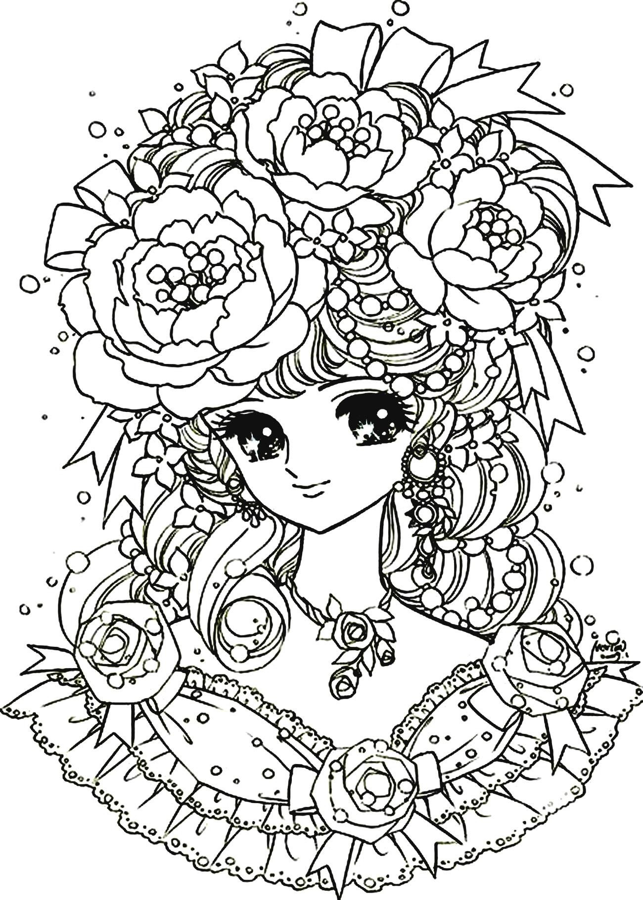 Coloriage fille manga difficile à imprimer