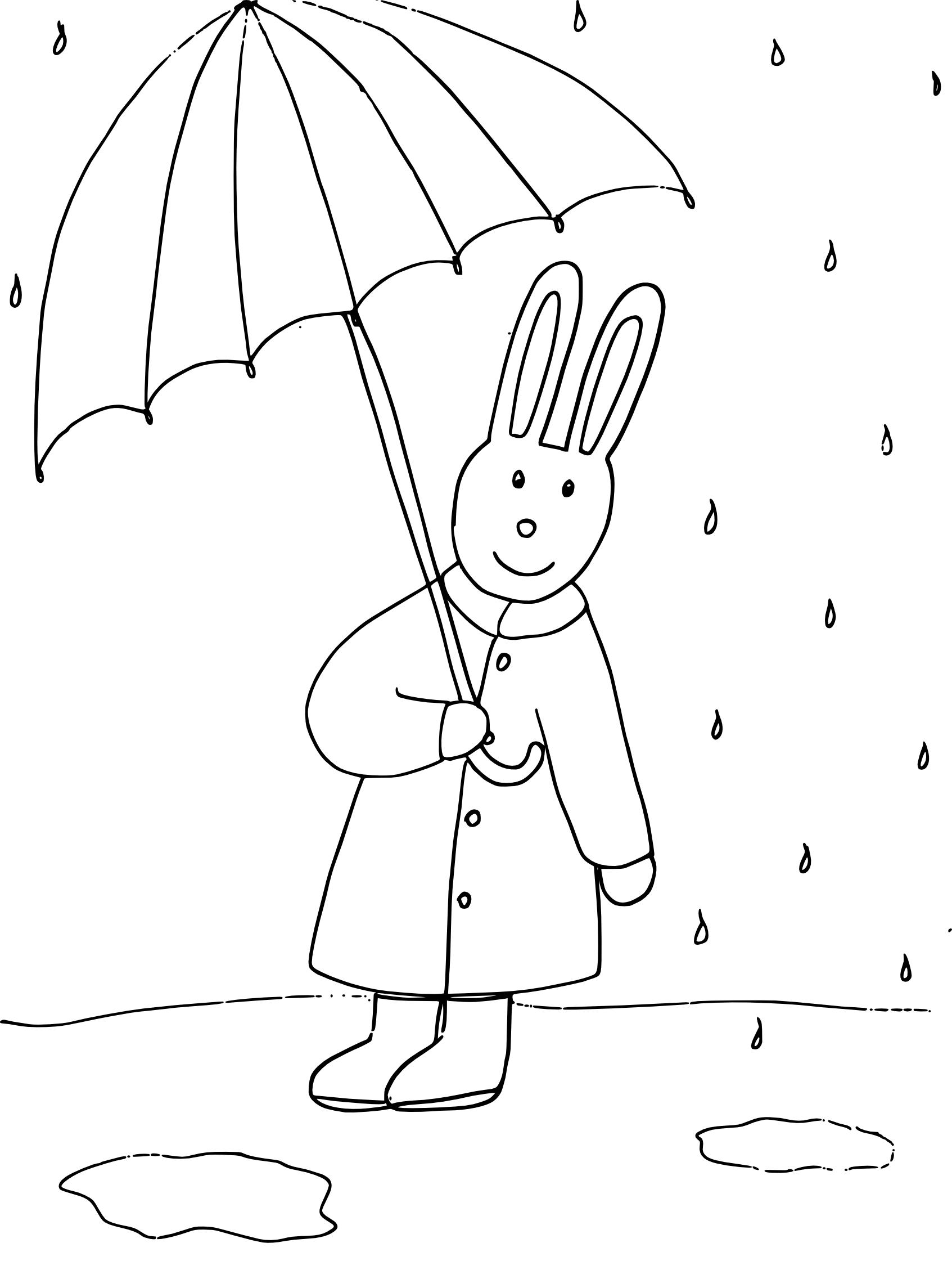 Coloriage lapin avec parapluie