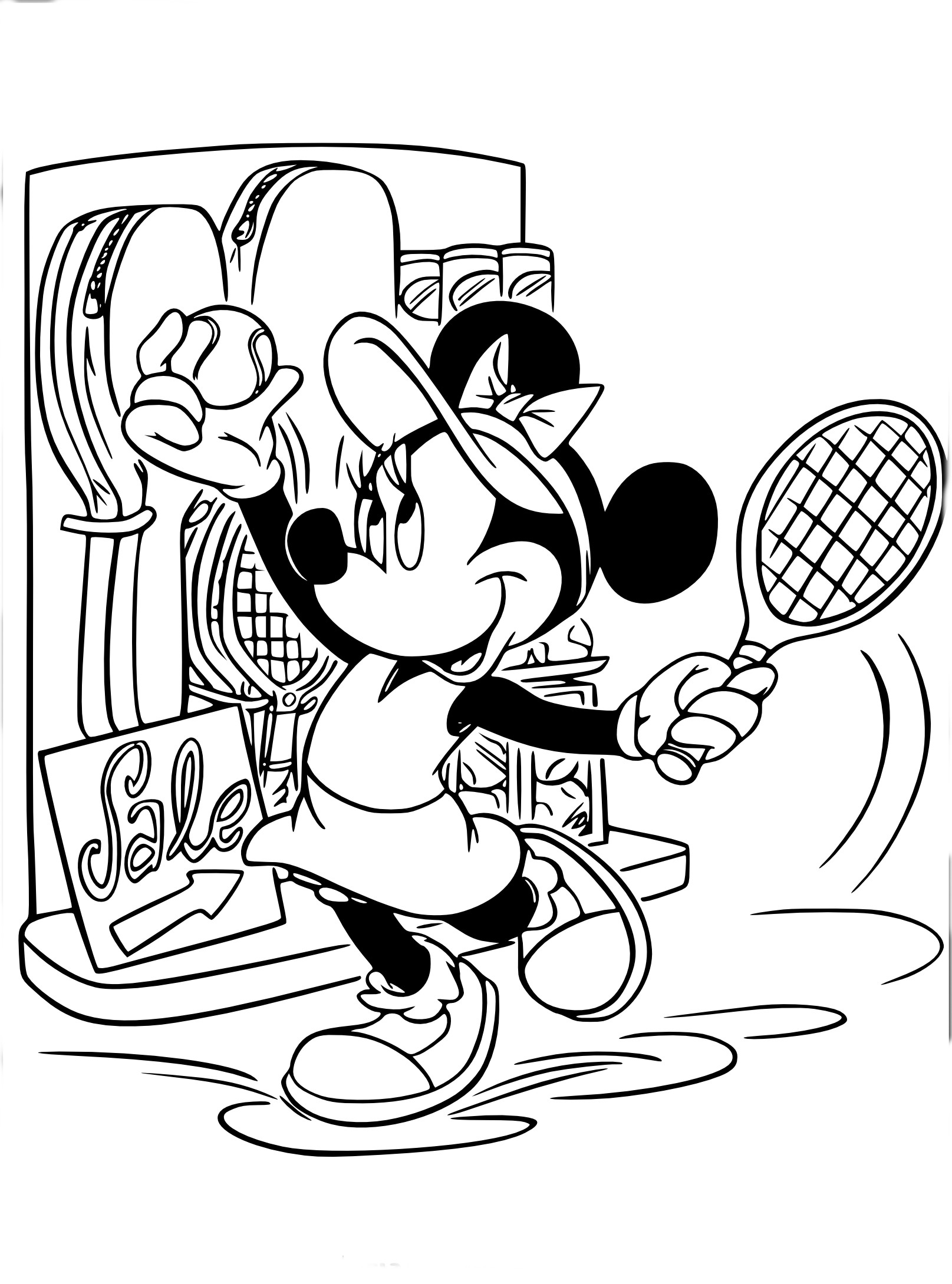 Coloriage Minnie Tennis