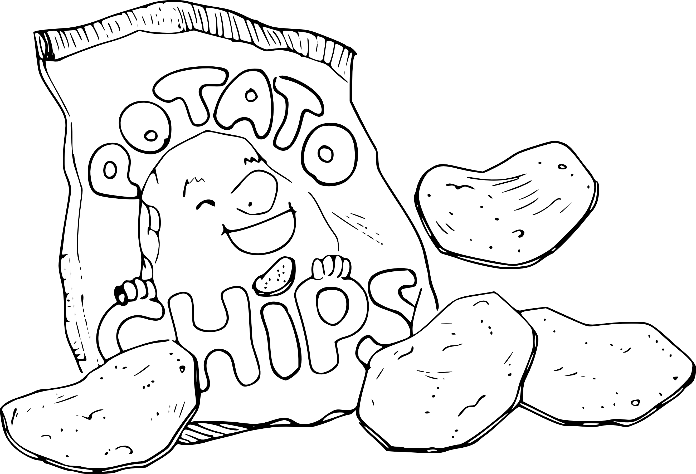 Coloriage paquet de chips