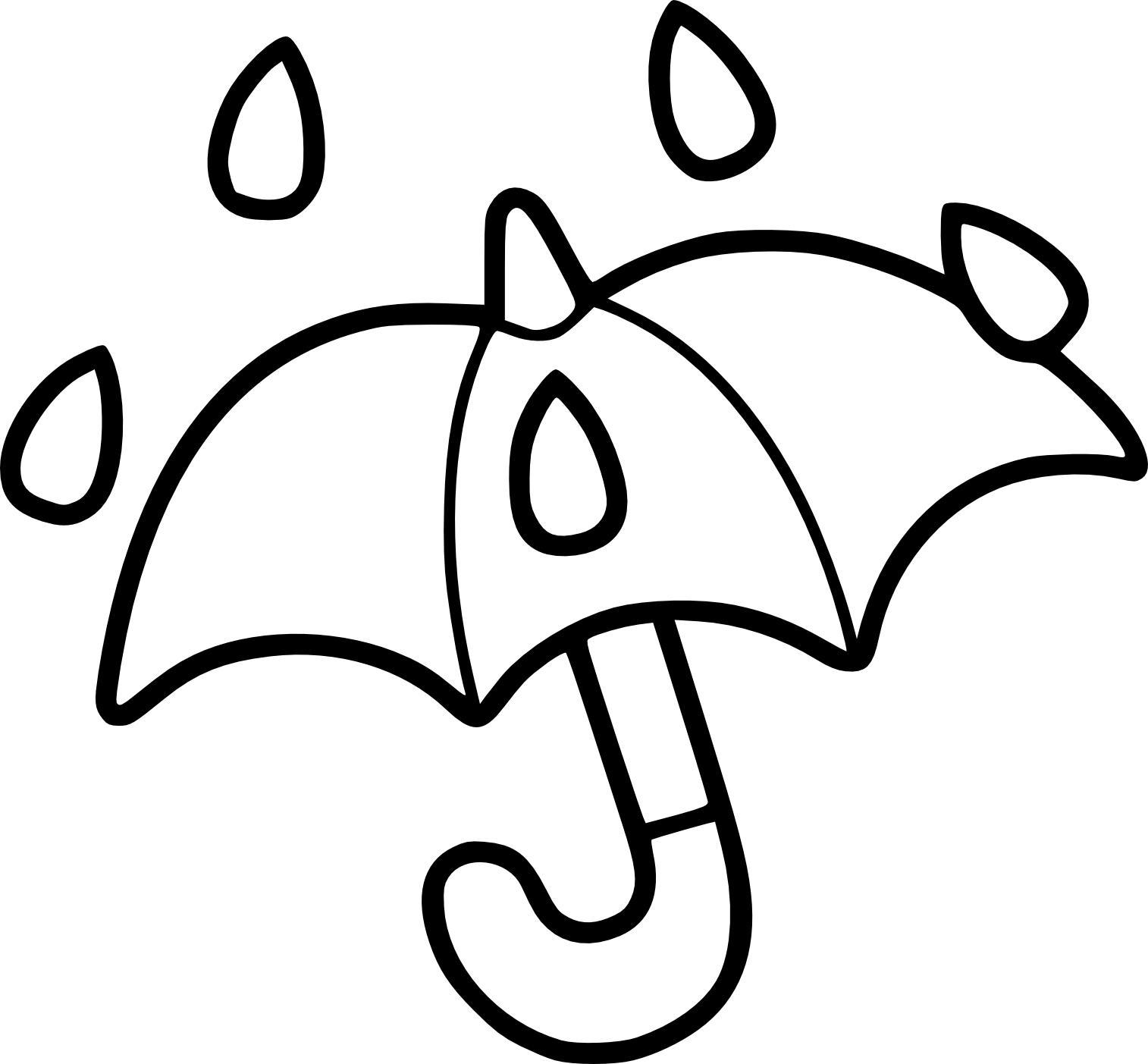Coloriage parapluie et pluie