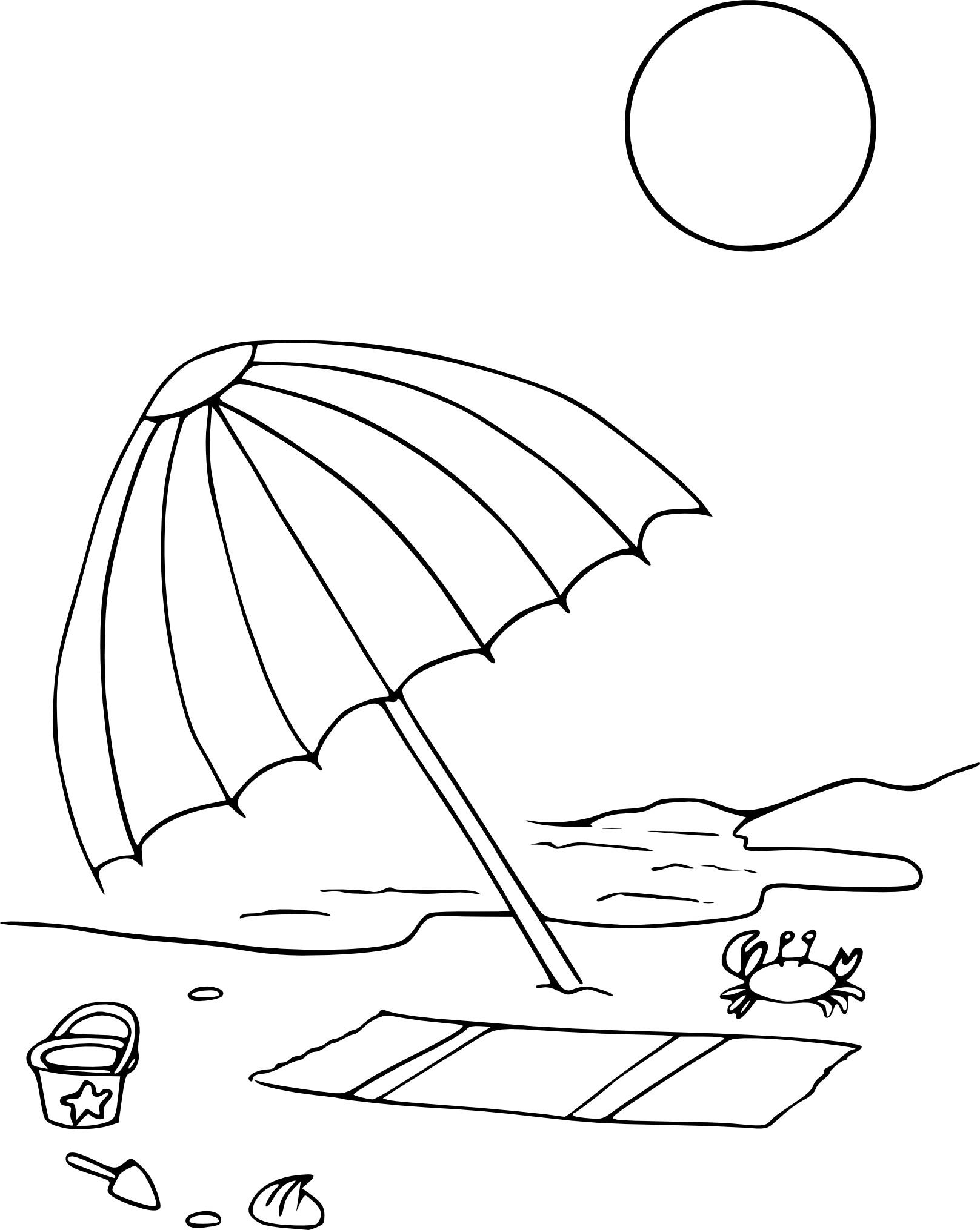 Coloriage parasol de plage imprimer - Coloriage de plage ...