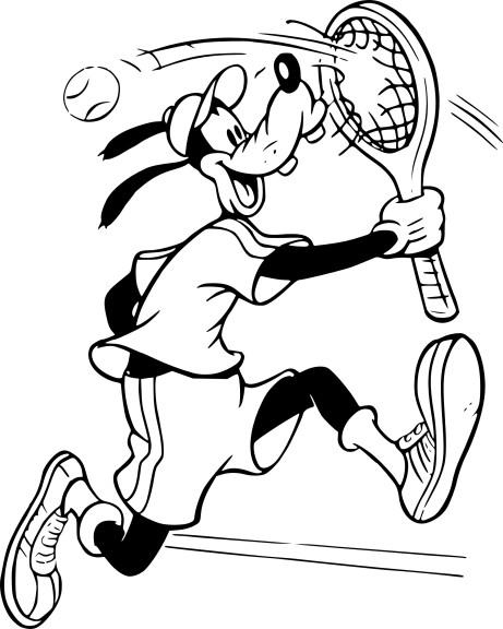 Coloriage Pluto Tennis