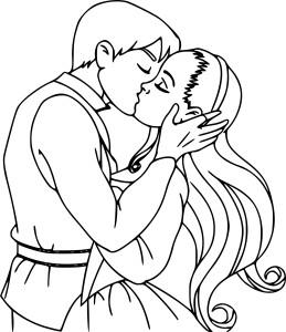 Coloriage amour baiser