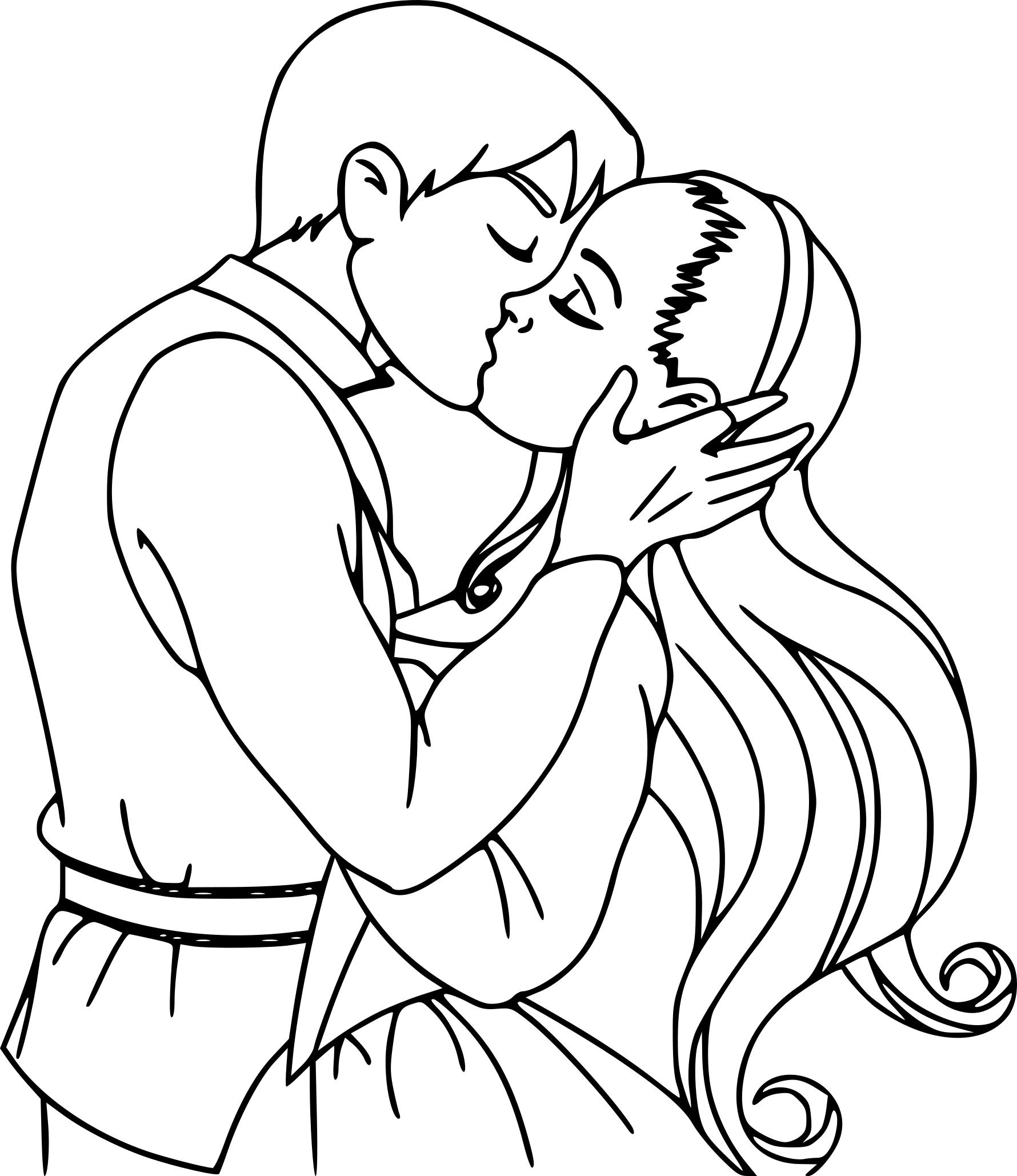 Coloriage Amour baiser à imprimer