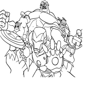 Coloriage equipe Avengers
