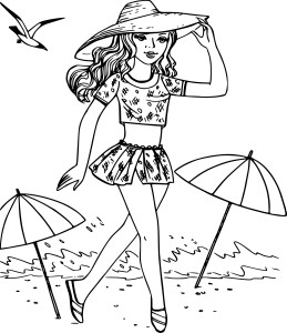 Coloriage fille à la plage