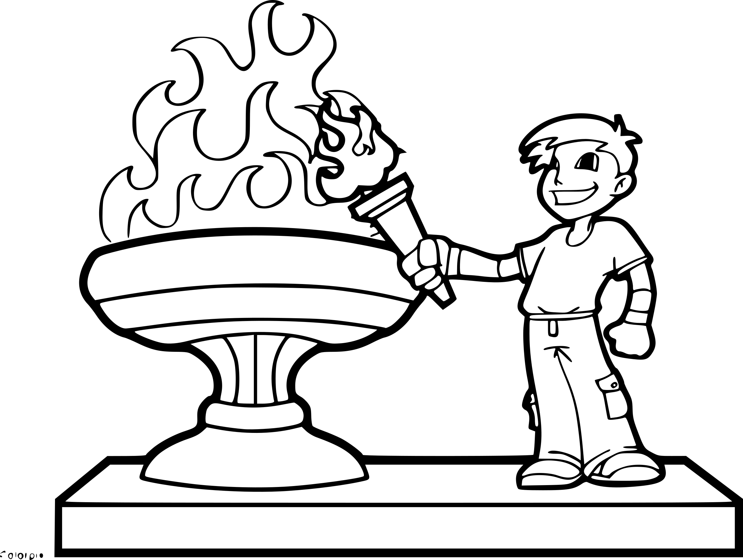 Coloriage flamme olympique