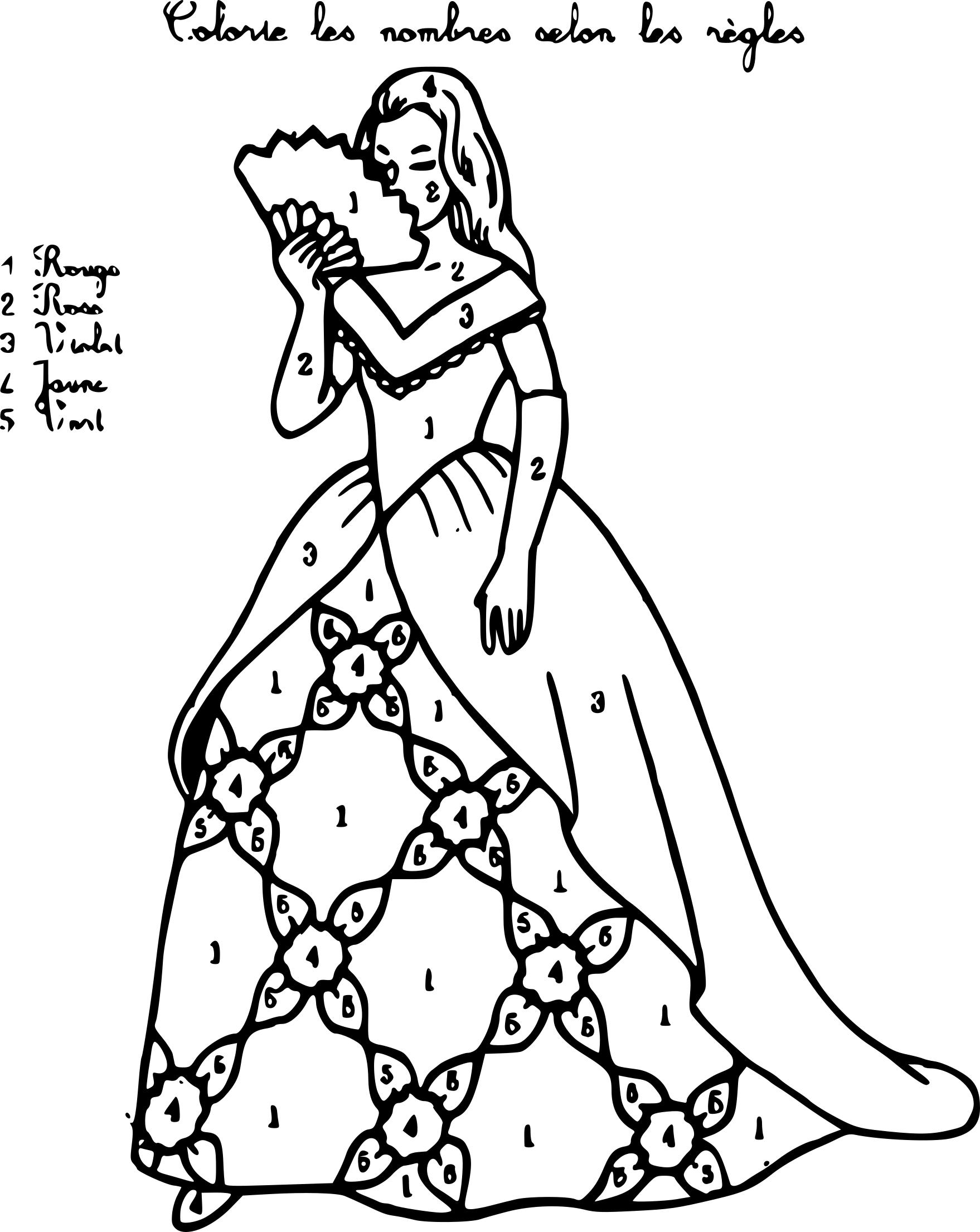 Coloriage magique princesse à imprimer