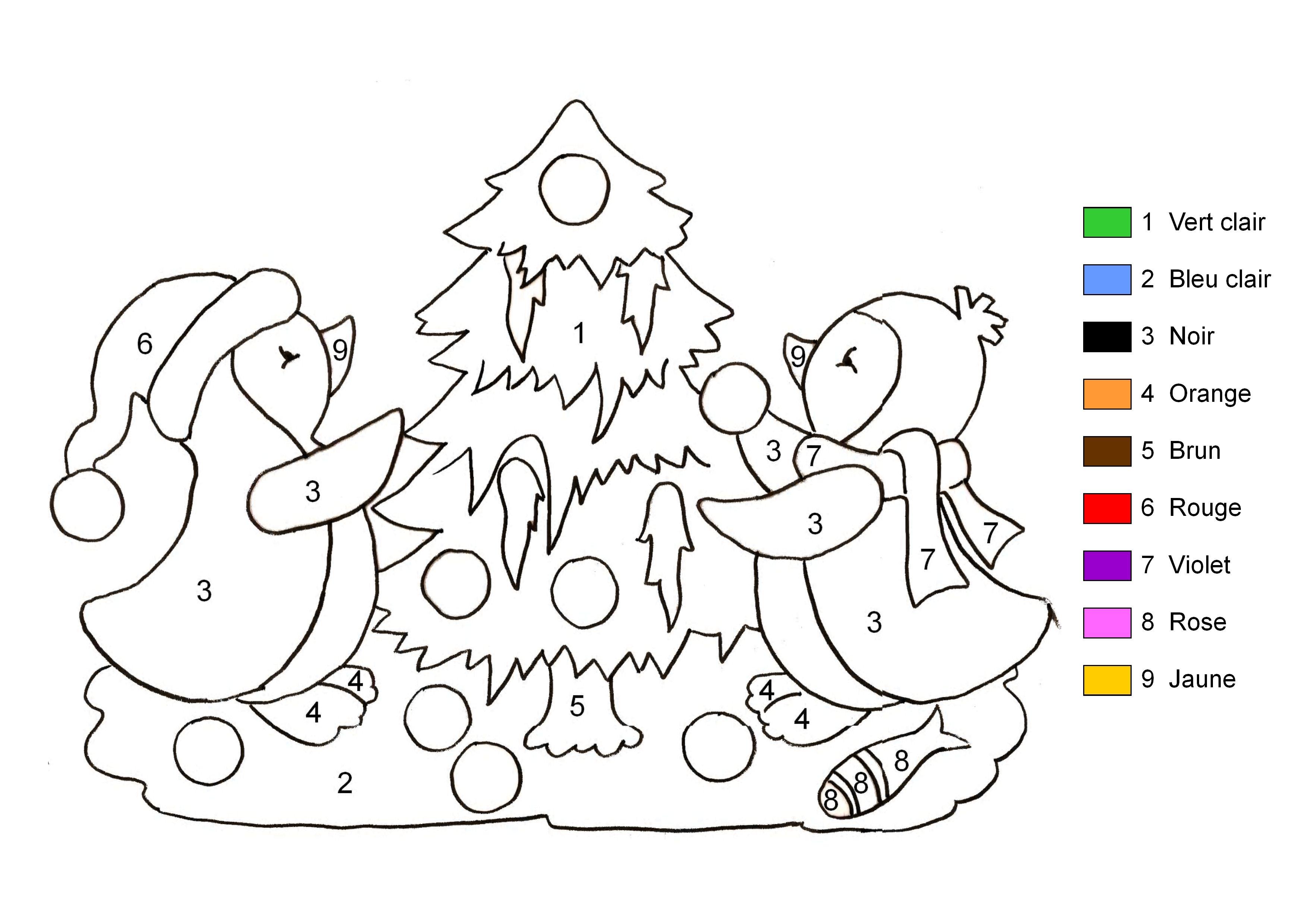 Coloriage Magique Sapin De Noel A Imprimer