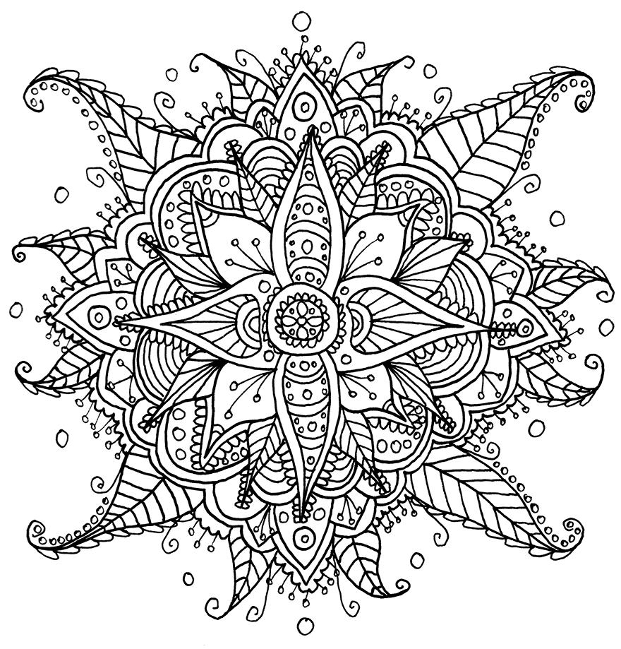 Coloriage mandala fleur difficile