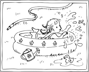 Coloriage petite fille dans une piscine