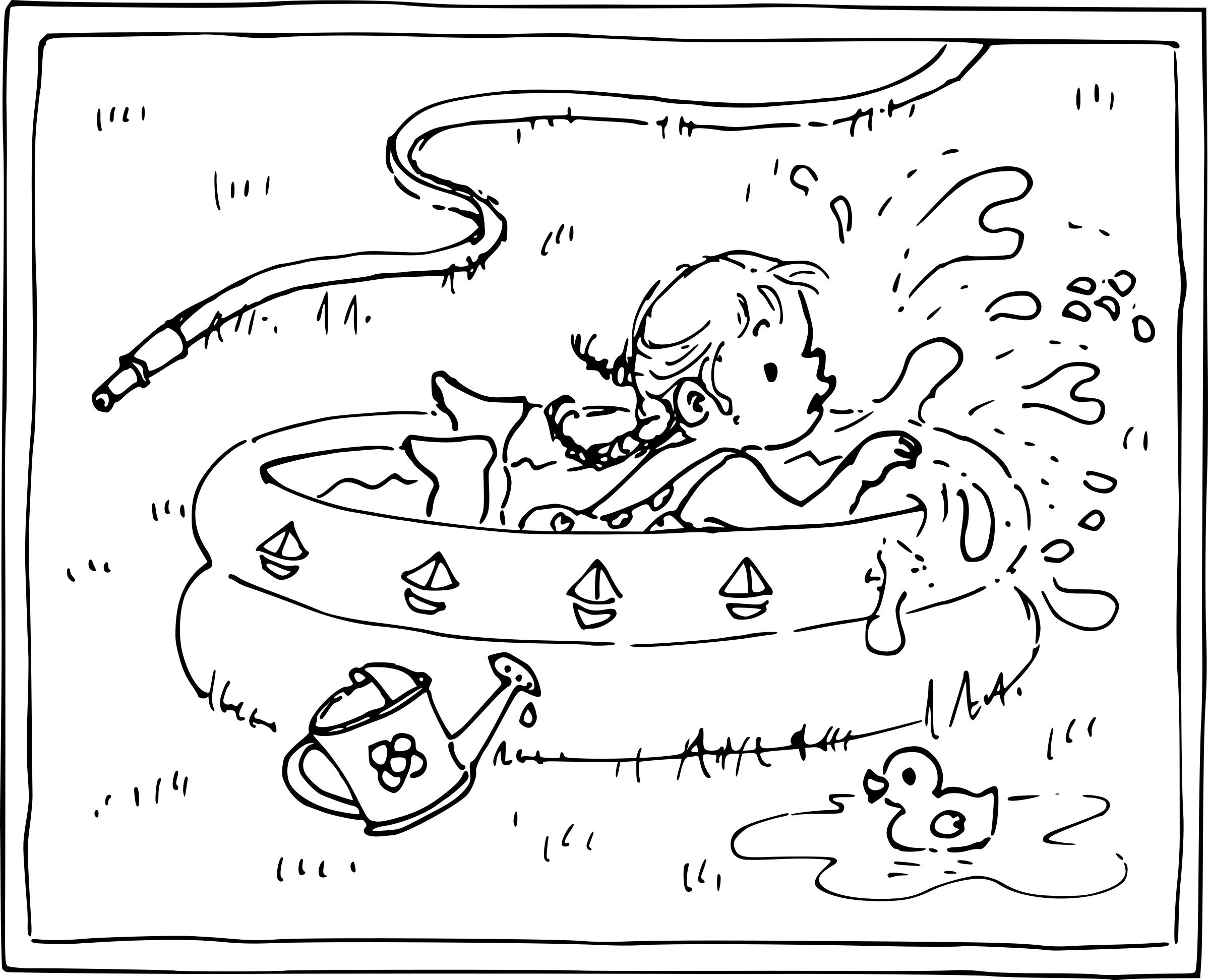 Coloriage petite fille dans une piscine à imprimer