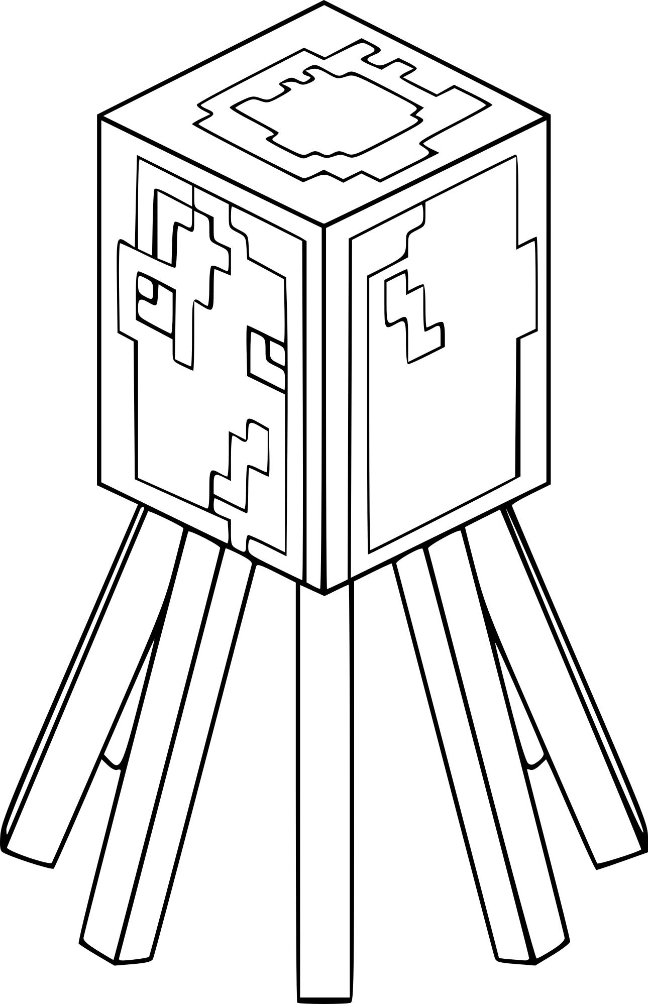 Coloriage Pieuvre de Minecraft
