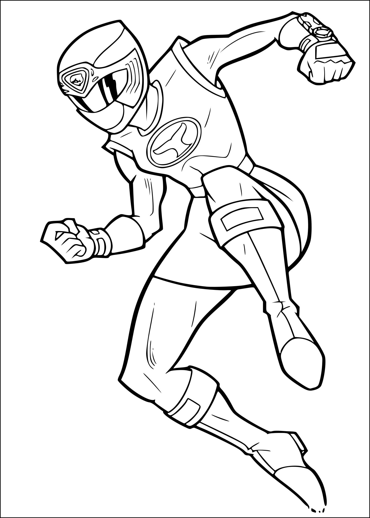 Coloriage Power Rangers rose à imprimer