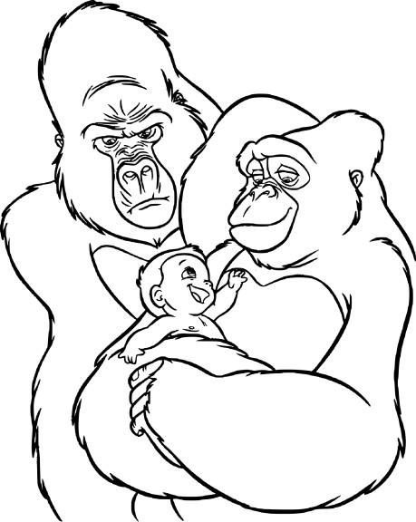 Coloriage Tarzan et sa famille