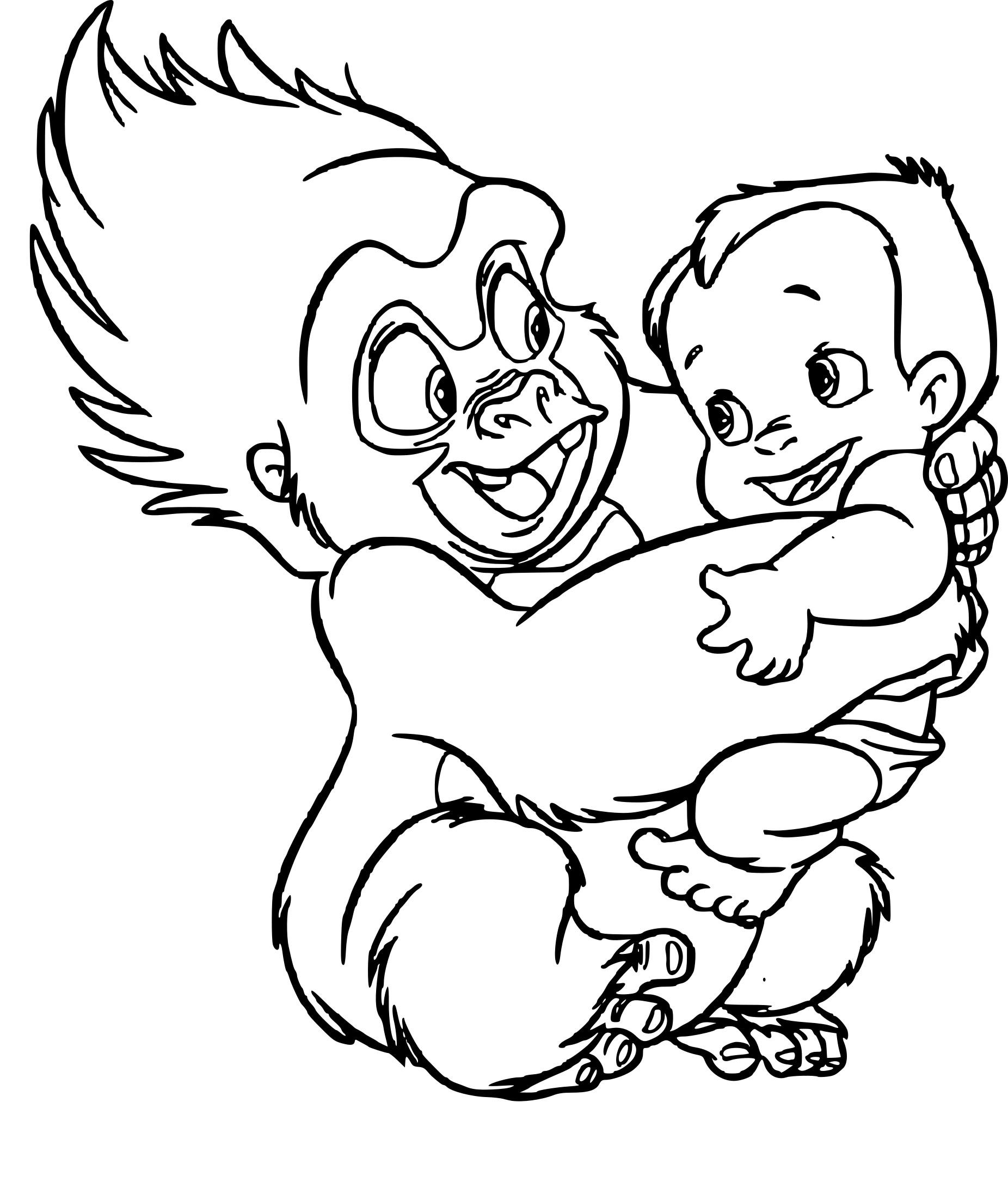 Coloriage Tarzan et Terk