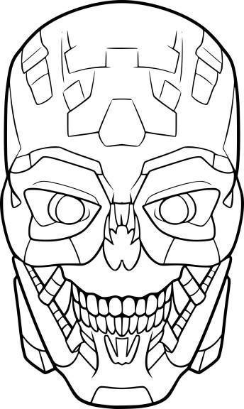 Coloriage Tête de Terminator à imprimer