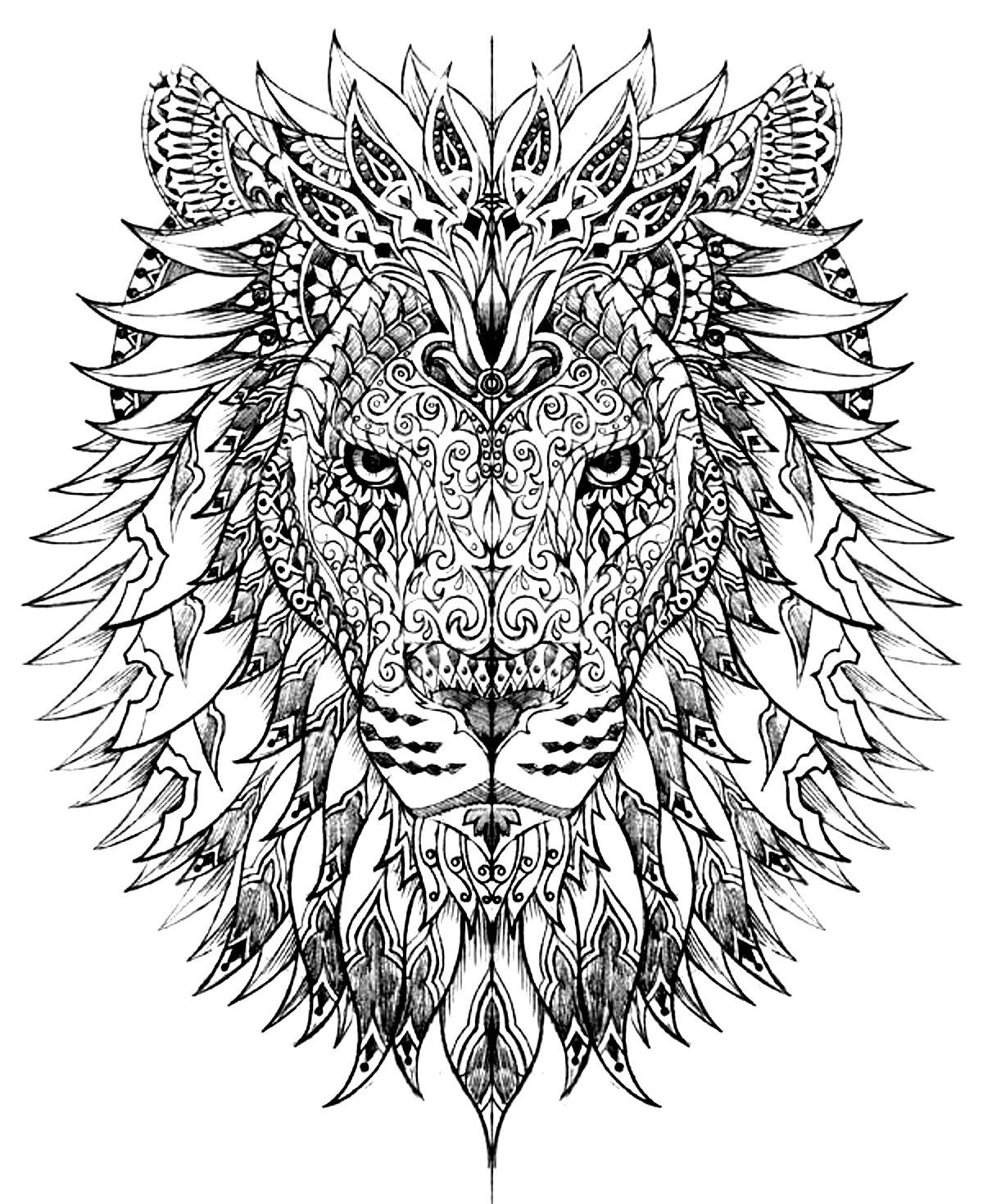 Coloriage zen lion