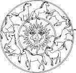 Mandala chevaux dessin