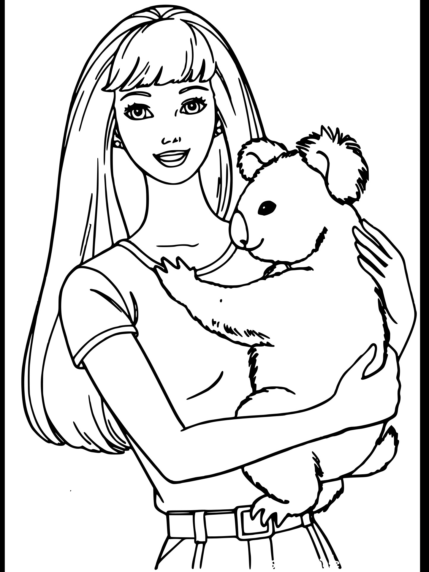 Coloriage Barbie et Koala