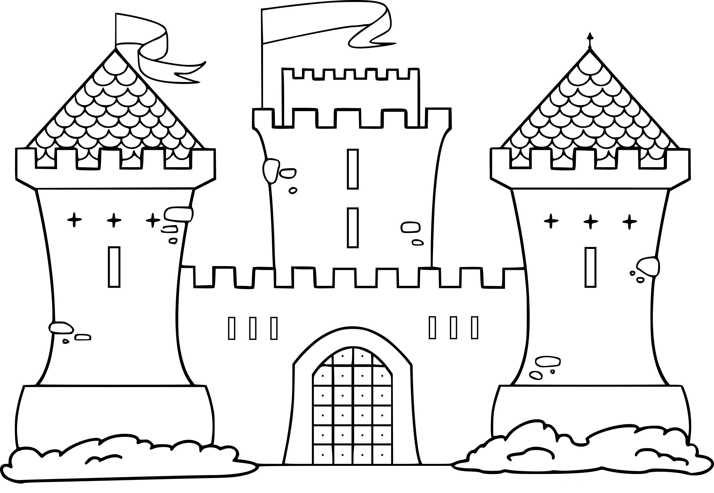 Coloriage Image Chateau.Coloriage Chateau Moyen Age A Imprimer