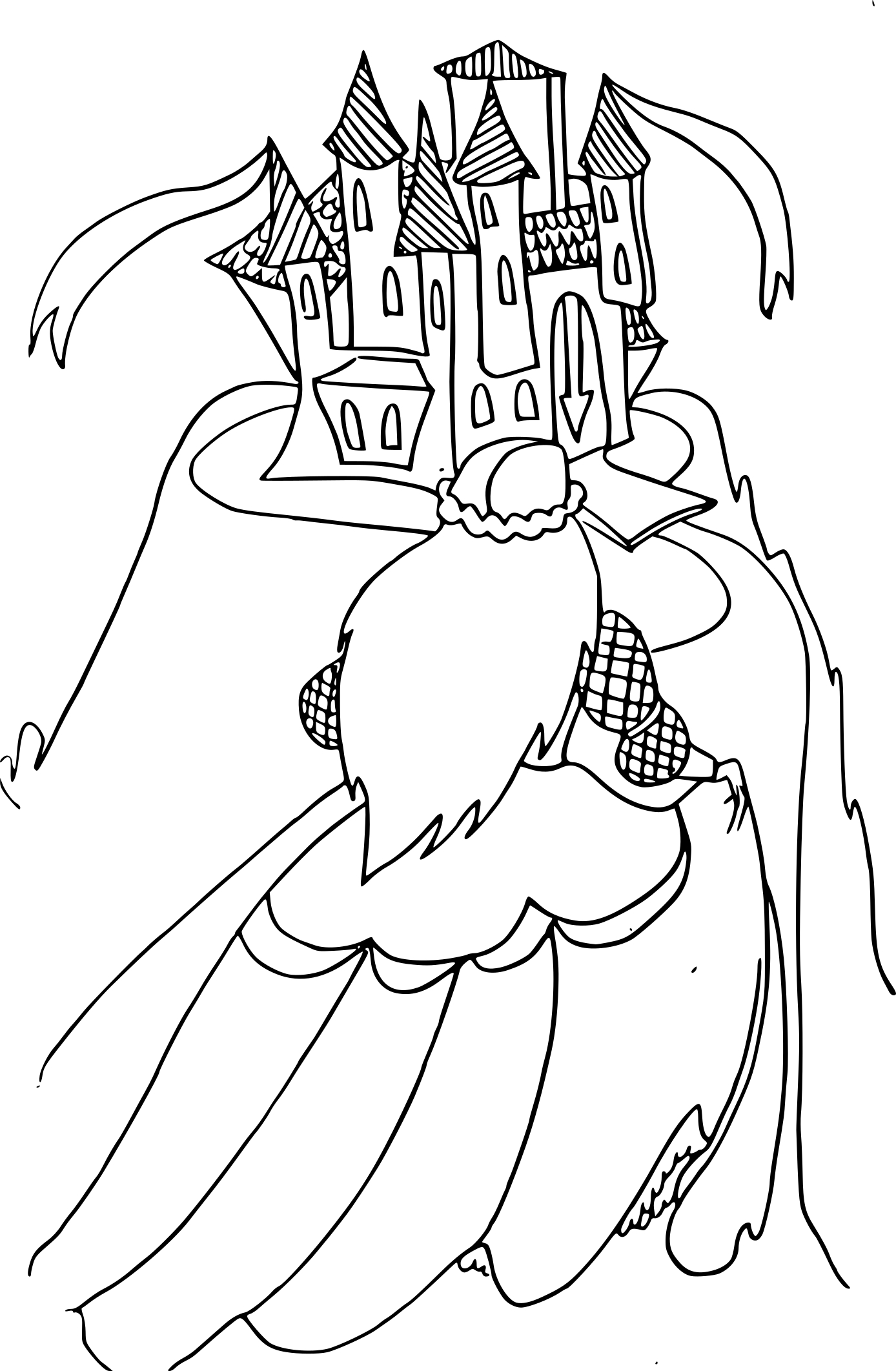 Coloriage château princesse à imprimer