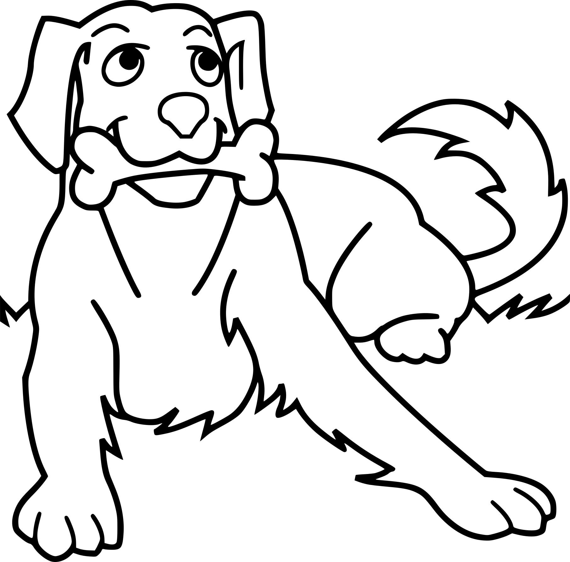Coloriage chien avec un os
