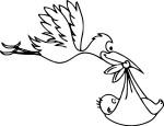 Coloriage cigogne et un bebe