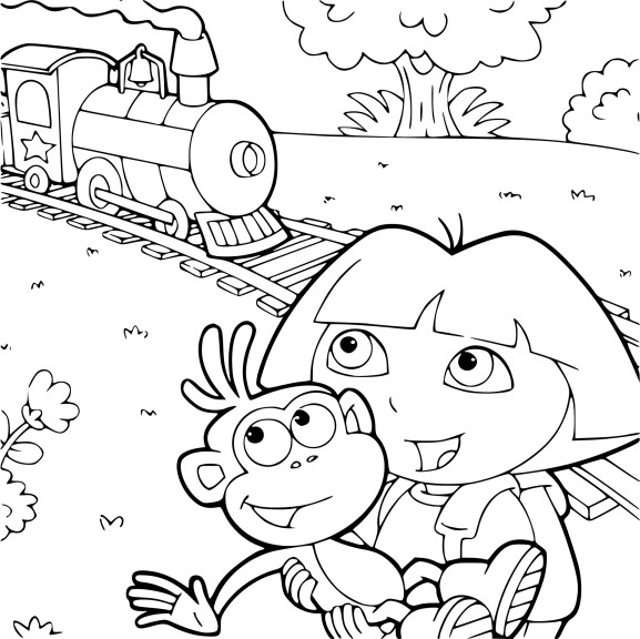 Coloriage Dora et un train