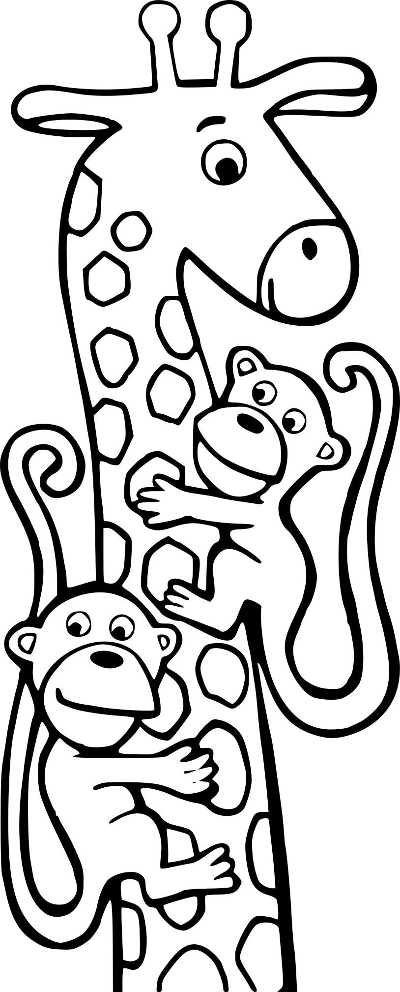 Coloriage girafe et singe